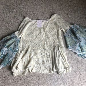 Free People Pointelle Breeze Top Flare Sleeves